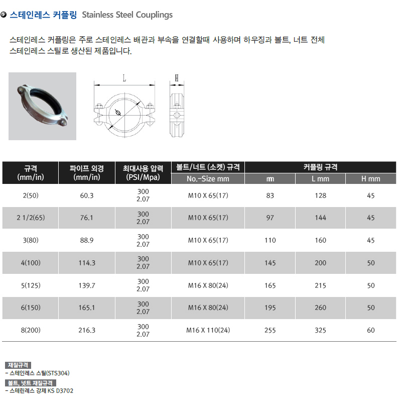 스테인레스 커플링 | Stainless Steel Couplings